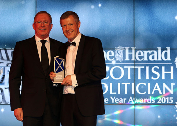 Willie Renniewinsbest debater at the Scottish Politician of the Year Awards 2015 at Edinburgh's Prestonfield House thursday.